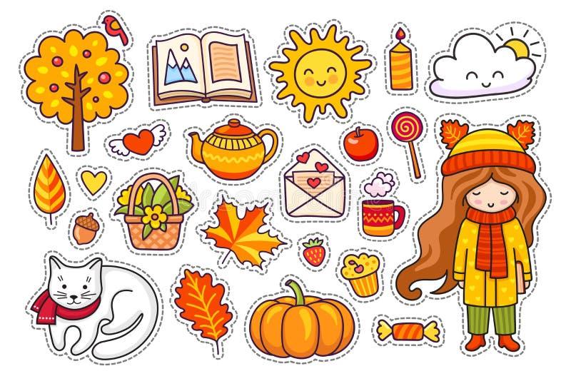 Grupo mão bonito de elementos tirados do outono ilustração stock
