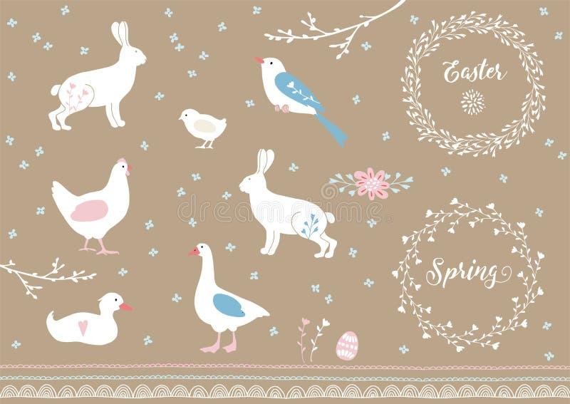 Grupo mão branca de elementos tirados da Páscoa e da mola Animais de exploração agrícola, flores e beiras decorativas Projeto do  ilustração royalty free