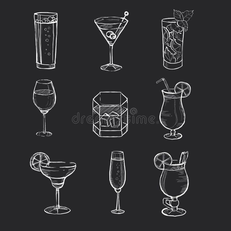 Grupo mão diferente de bebidas tiradas no ilustração royalty free