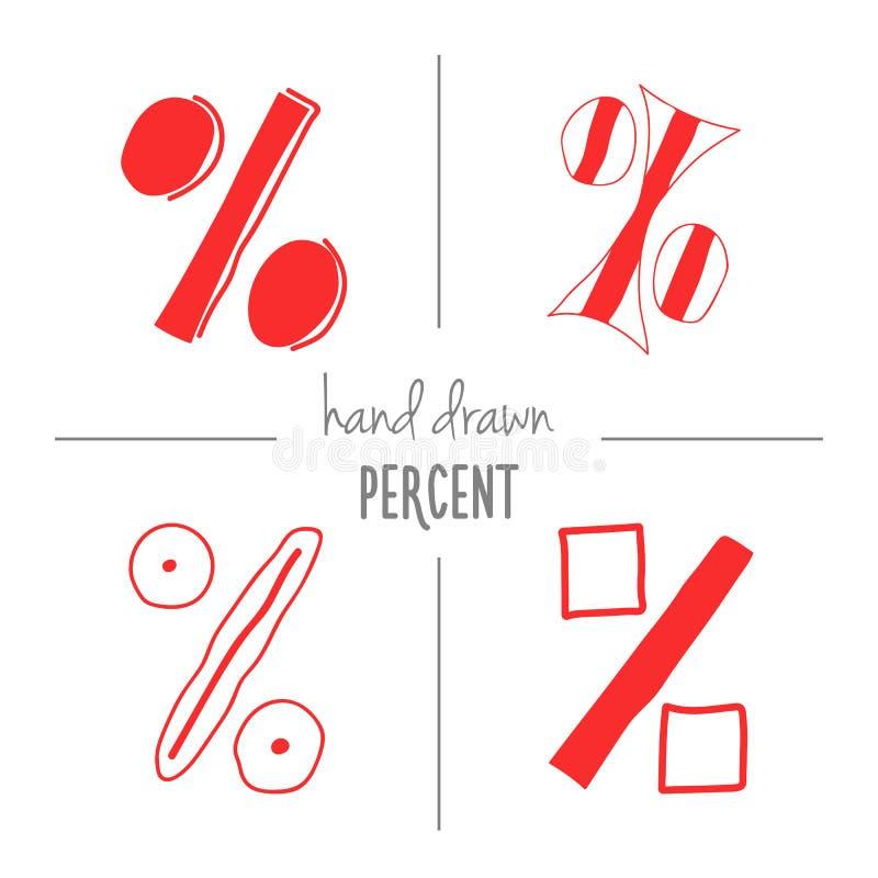 Grupo mão vermelha de sinais de por cento tirados ilustração stock