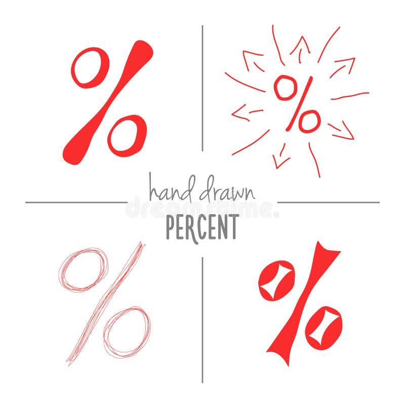 Grupo mão vermelha de sinais de por cento tirados ilustração royalty free