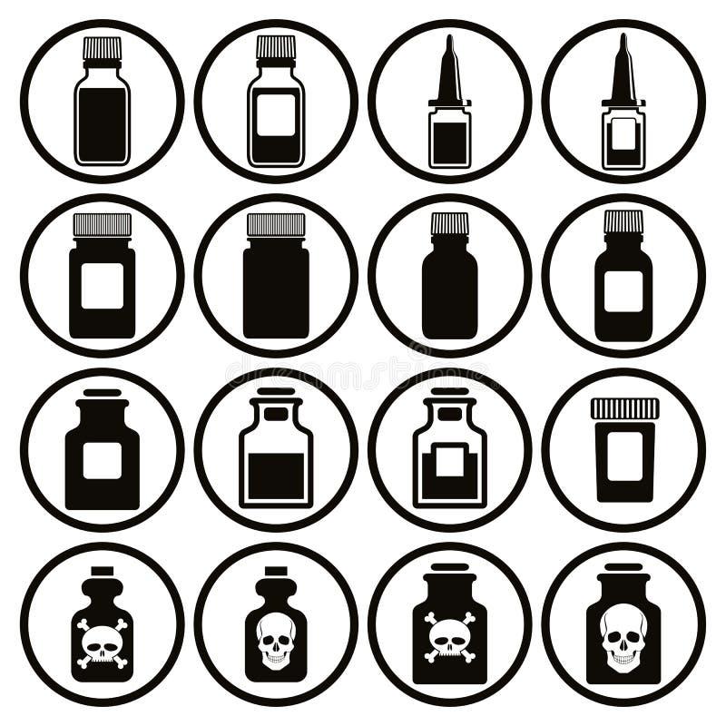Grupo médico do ícone das garrafas ilustração royalty free