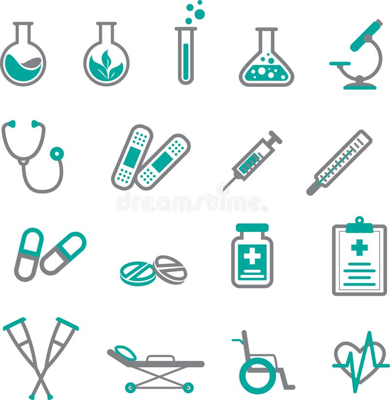 Grupo médico do ícone no cinza e na cerceta ilustração royalty free