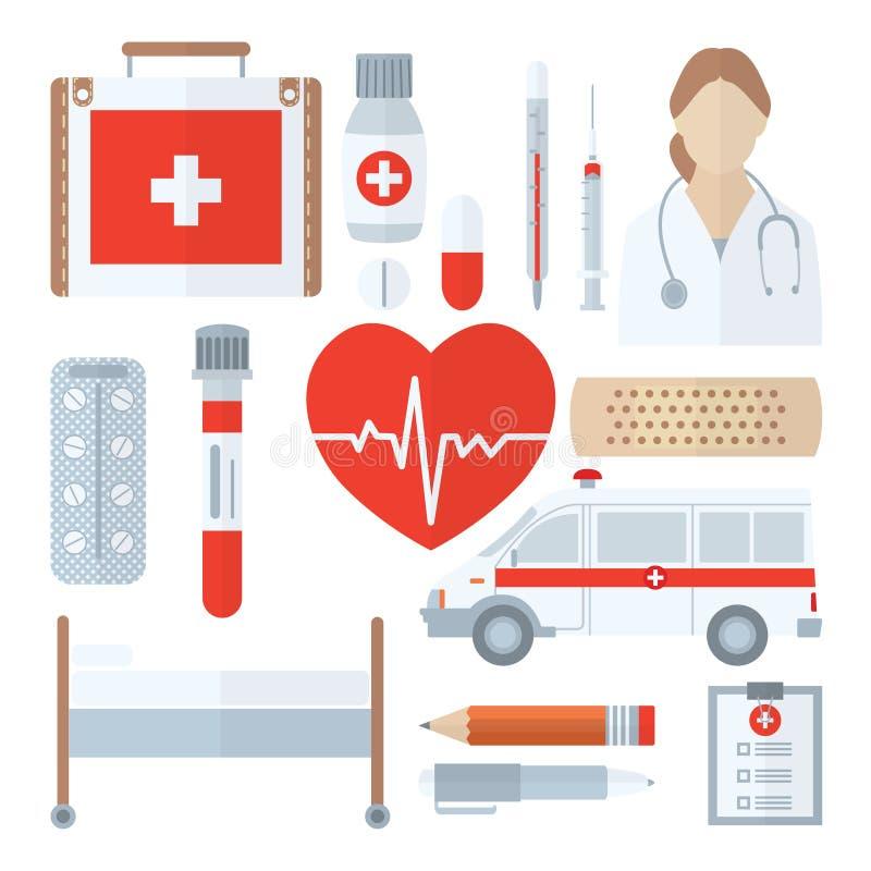 Grupo médico do ícone no estilo liso isolado no branco medicina ilustração royalty free