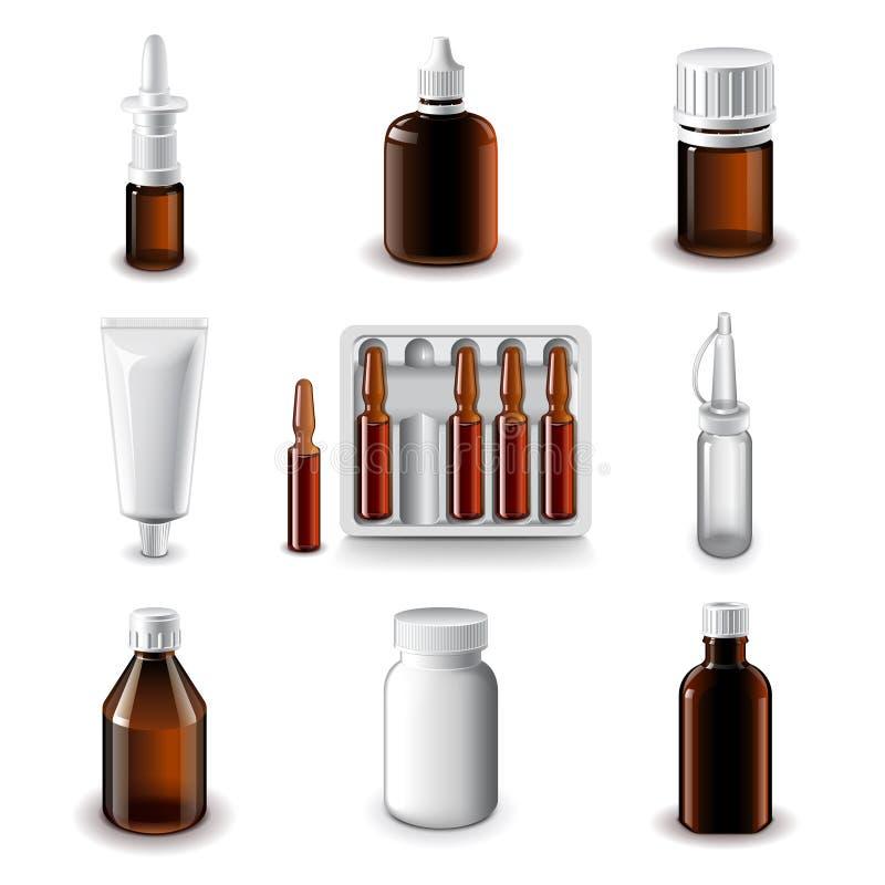 Grupo médico do vetor dos ícones das garrafas ilustração do vetor