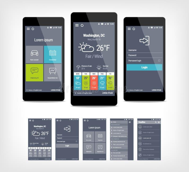 Grupo móvel do ui do app do vetor de projeto moderno ilustração stock