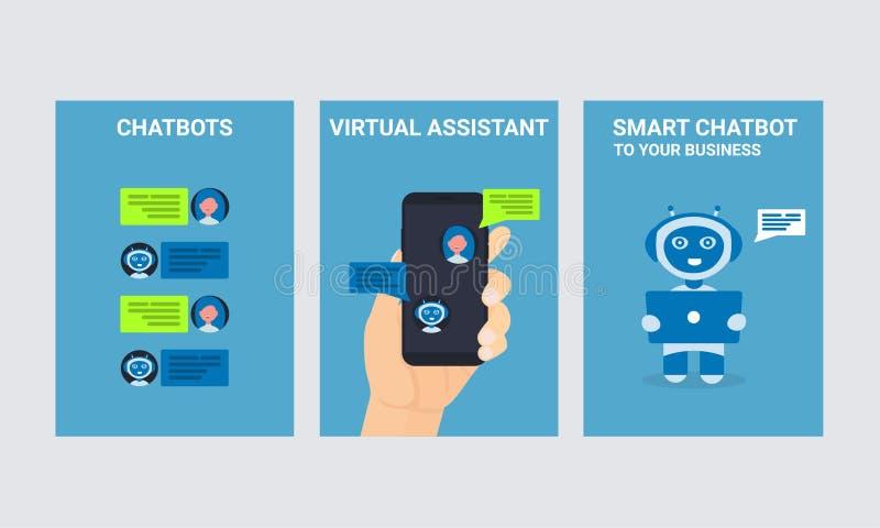Grupo móvel dos ícones dos povos da mão do homem do robô do bot do bate-papo ilustração royalty free