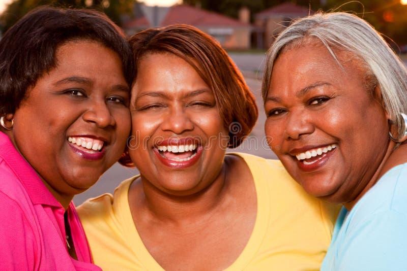 Grupo maduro de mujeres que hablan y que ríen imagenes de archivo