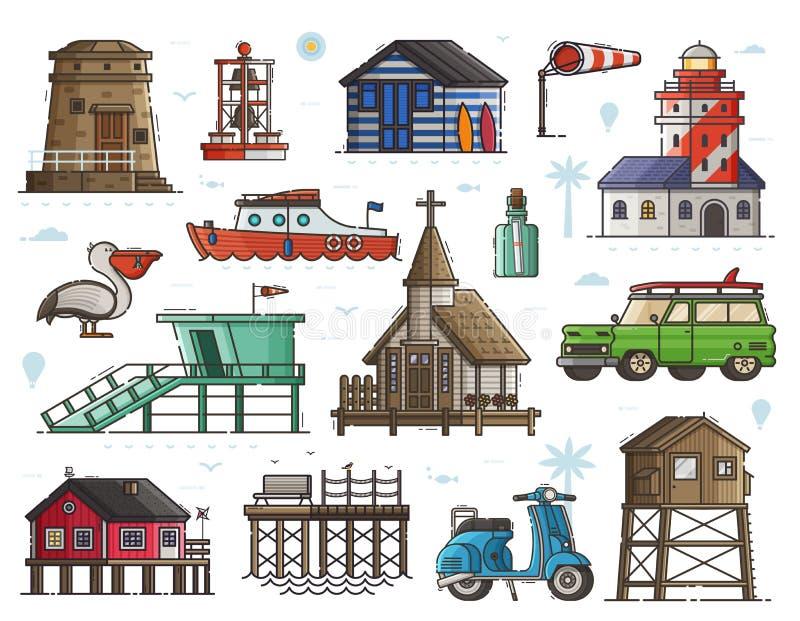 Grupo marítimo da cidade do beira-mar ilustração stock