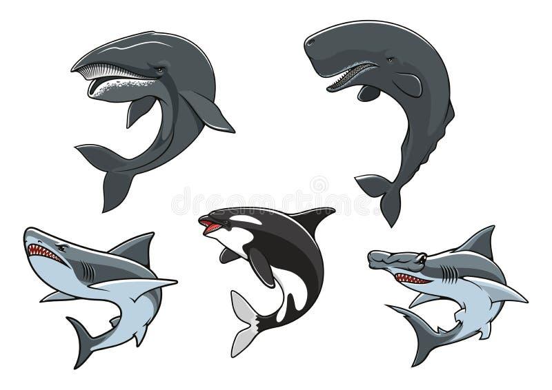 Grupo marinho perigoso do ícone dos predadores ilustração royalty free