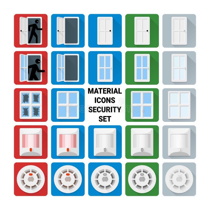 Grupo material da segurança dos ícones ilustração stock