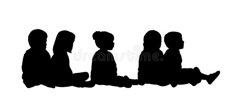 Grupo medio de la silueta asentada niños 6 stock de ilustración