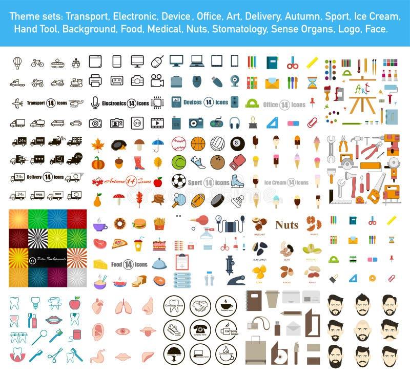 Grupo mega com ícones e fundos no estilo liso Vetor ilustração stock