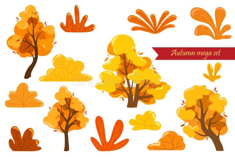 Grupo mega da fantasia do outono de arbustos e de árvores Elementos bonitos para gráficos, cartazes, cartão e bandeiras da Web ilustração do vetor
