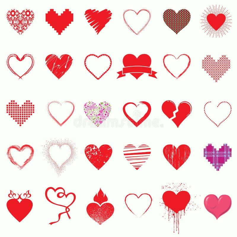 Grupo mega de ícones do coração, dia do símbolo do Valentim, ilustração do vetor ilustração stock