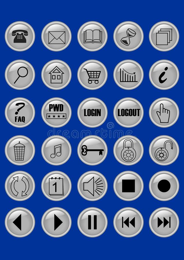 Grupo mega de botões metálicos elegantes com símbolos para o webdesign ilustração royalty free