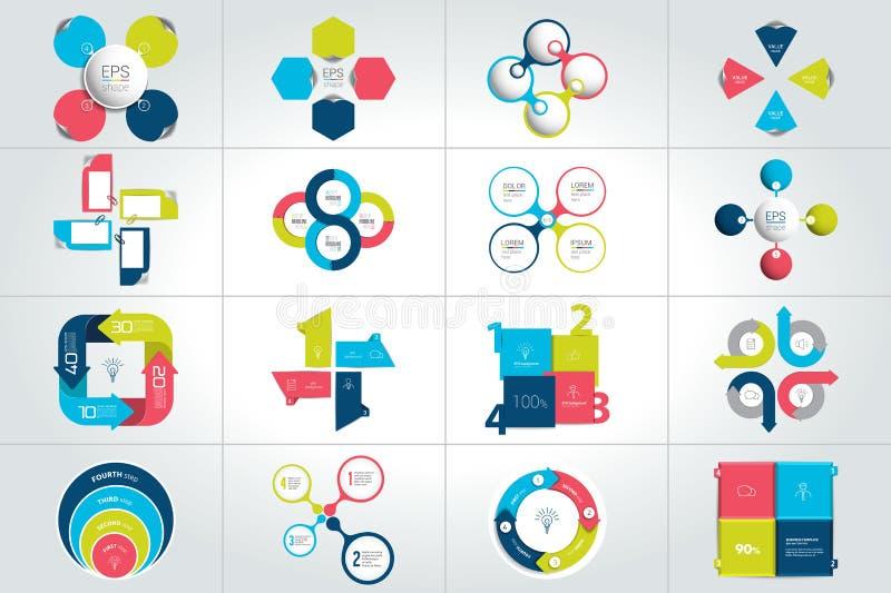 Grupo mega de círculo, em volta de 4 moldes infographic das etapas, diagramas, gráfico, apresentações, carta ilustração do vetor