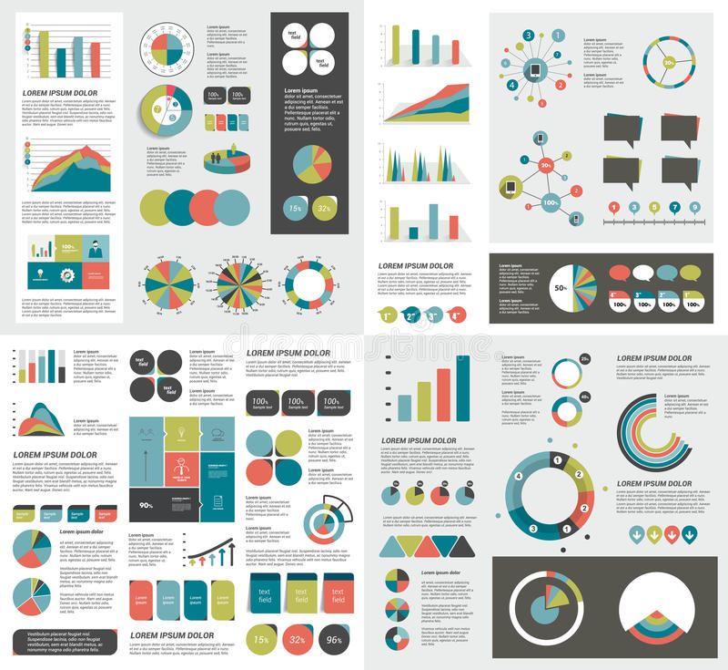 Grupo mega de cartas de elementos do infographics, gráficos, cartas do círculo, diagramas ilustração royalty free