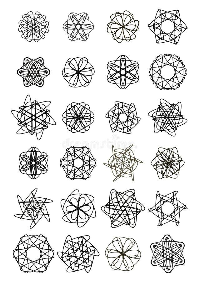 Grupo mega de formas da estrela do projeto da garatuja, testes padrões geométricos elegantes, ornamento simétrico do laço ilustração stock