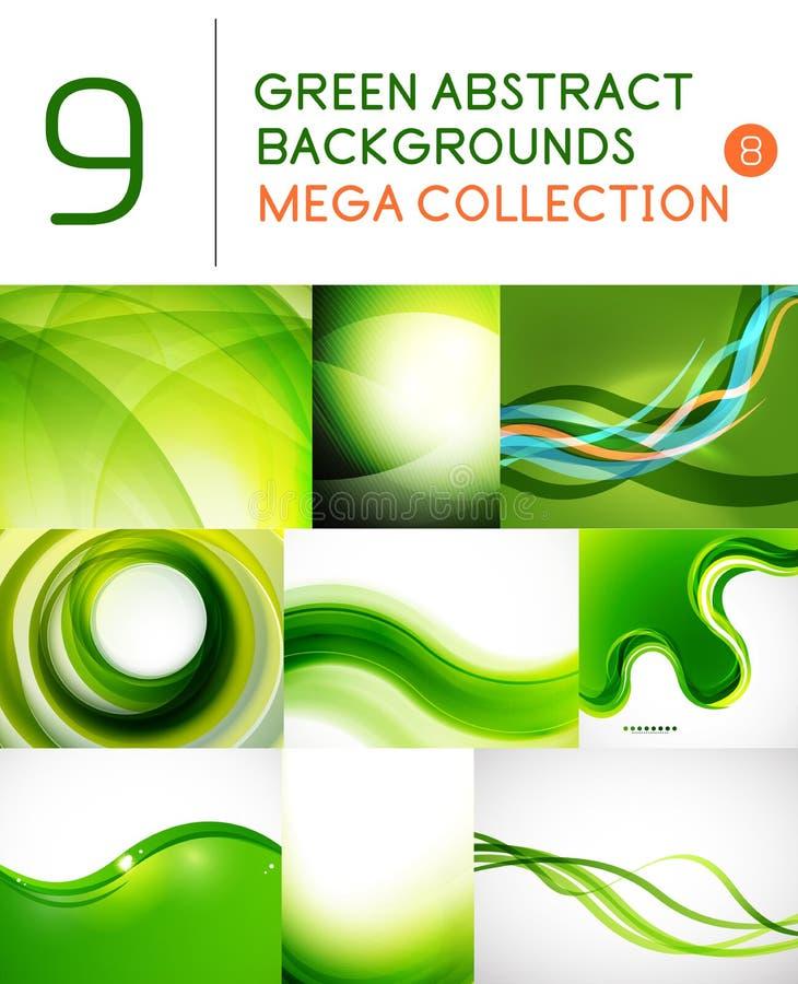 Grupo mega de fundos abstratos verdes ilustração do vetor