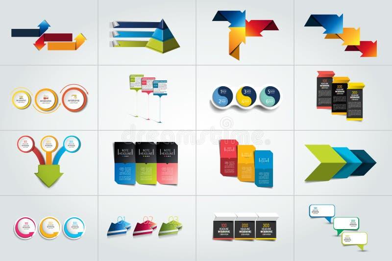 Grupo mega de 3 moldes infographic das etapas, diagramas ilustração stock