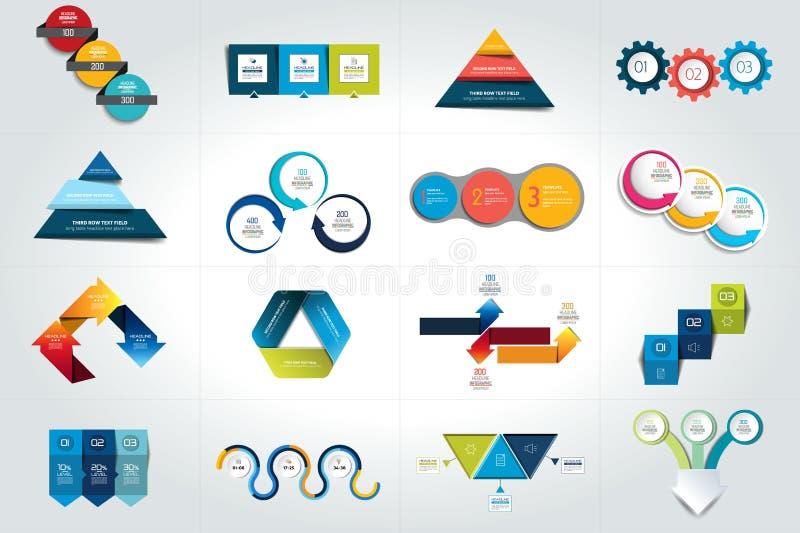 Grupo mega de 3 moldes infographic das etapas, diagramas, gráfico, apresentações, carta ilustração do vetor