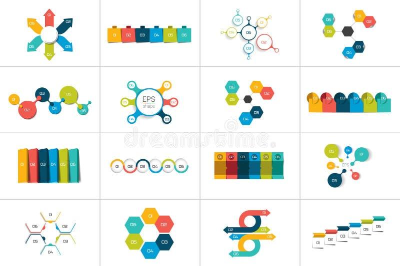 Grupo mega de 6 moldes infographic das etapas, diagramas, gráfico, apresentações, carta ilustração stock