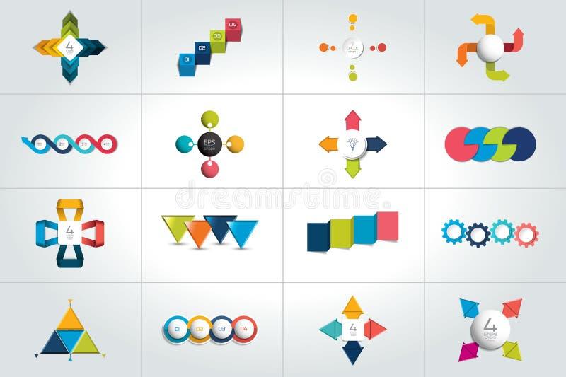 Grupo mega de 4 moldes infographic das etapas, diagramas, gráfico, apresentações, carta ilustração stock