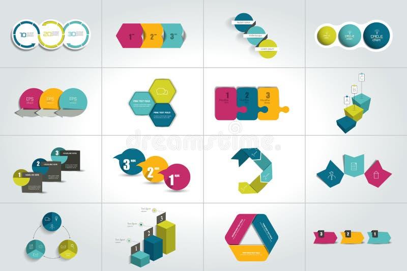 Grupo mega de 3 moldes infographic das etapas, diagramas, gráfico, apresentações, carta ilustração stock