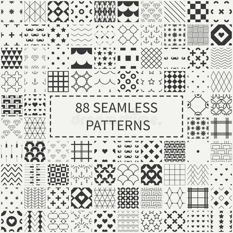 Grupo mega do universal 88 geométrico monocromático ilustração stock