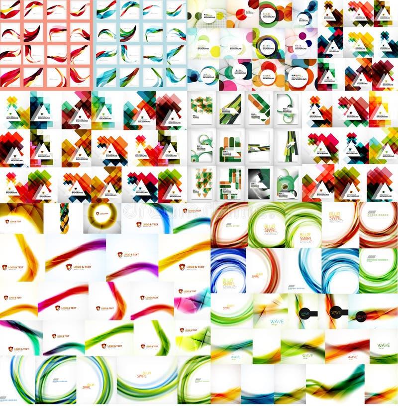 Grupo mega do vetor de fundos geométricos abstratos ilustração do vetor