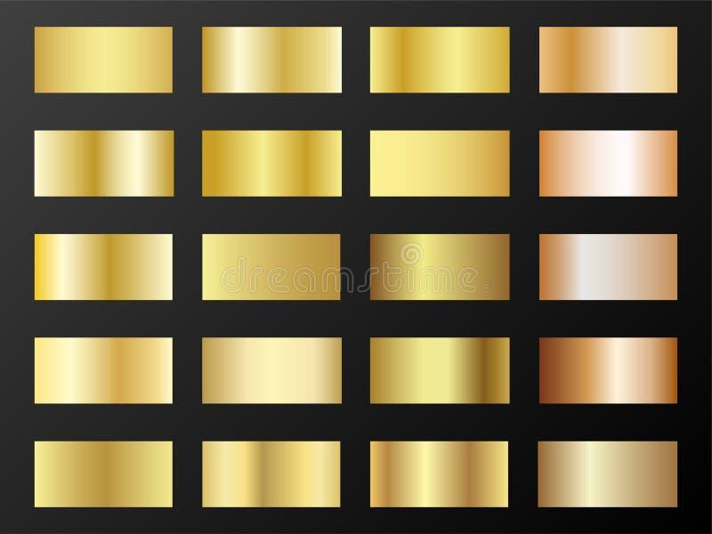 Grupo mega do vetor dos inclinações do ouro e do bronze Moldes metálicos da amostra de folha do inclinação da textura da folha de ilustração royalty free