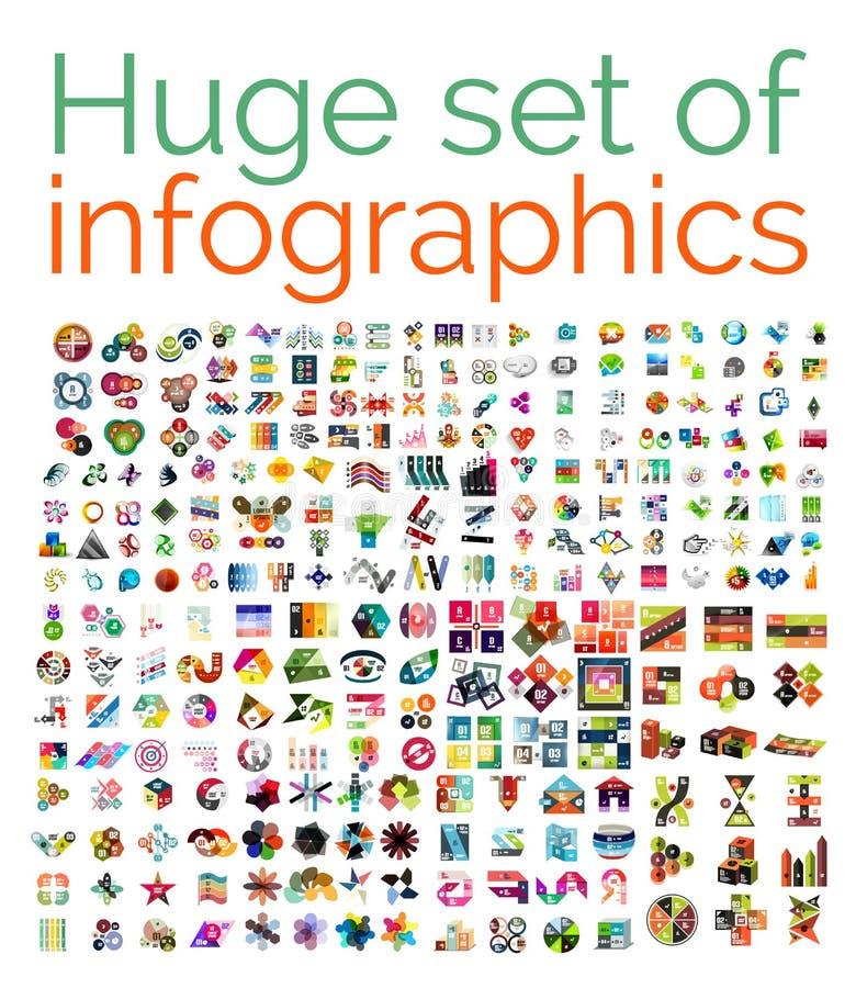 Grupo mega enorme de moldes infographic ilustração stock