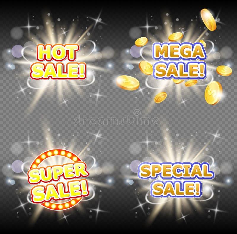 Grupo mega quente da bandeira do vetor das vendas super e especiais ilustração stock