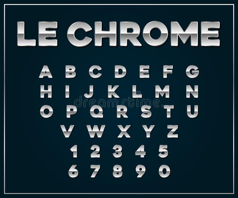 Grupo metálico de prata da fonte de Chrome Letras, números ilustração royalty free