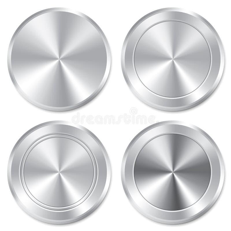 Grupo metálico do molde dos botões. Ícones realísticos. ilustração royalty free