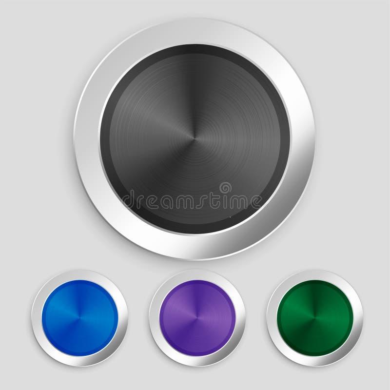Grupo metálico escovado realístico de quatro botões ilustração royalty free