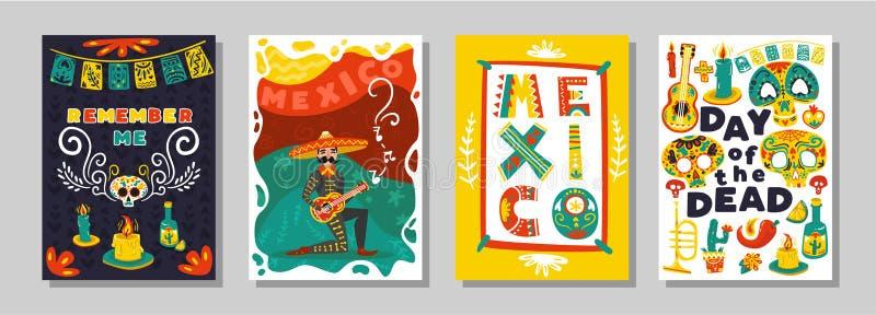 Grupo mexicano inoperante dos cartazes do dia ilustração do vetor
