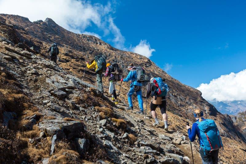 Grupo mezclado de montaña ascendente de los atletas imagen de archivo