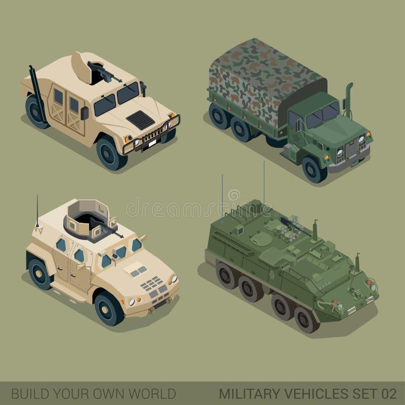 Grupo militar de alta qualidade isométrico liso do ícone do transporte rodoviário 3d ilustração do vetor