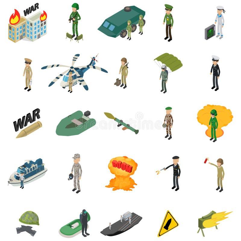 Grupo militar dos ícones do soldado, estilo isométrico ilustração royalty free