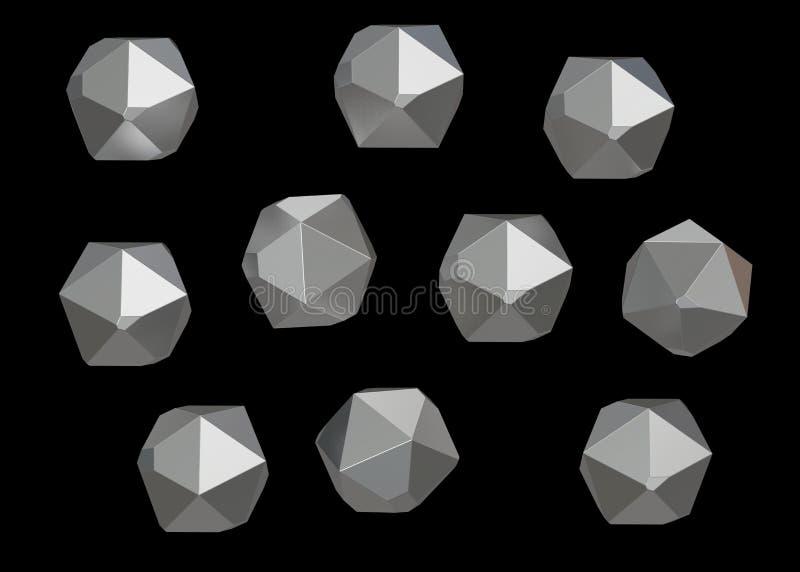 Grupo mineral macro de 10 unidades, quartzo da coleção da gema de Crystal Stone no fundo preto ilustração 3D ilustração stock