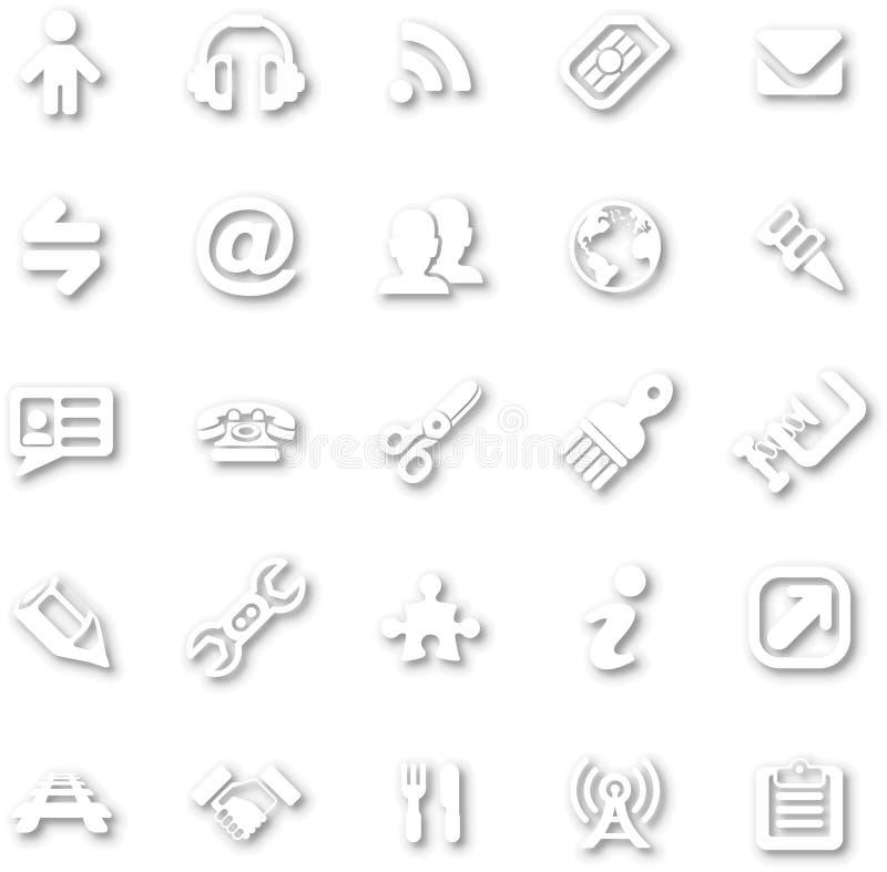 Grupo minimalista branco do ícone ilustração royalty free