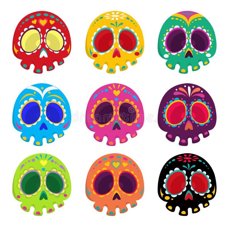 Grupo modelado colorido do crânio, dia mexicano dos mortos ilustração royalty free