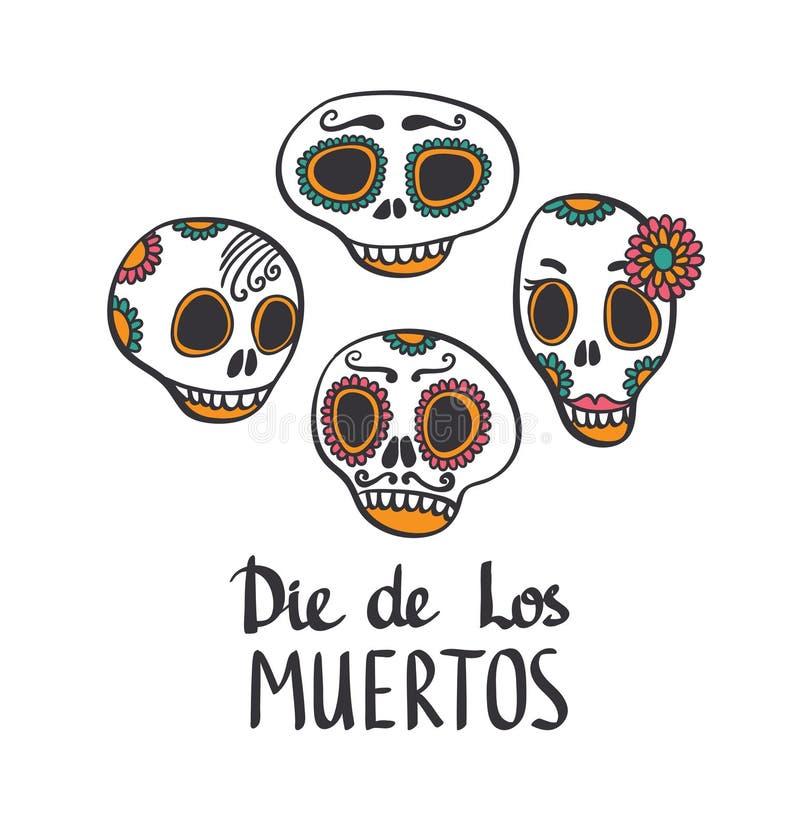 Grupo modelado olorful do crânio do ¡ de Ð, dia mexicano dos mortos ilustração royalty free