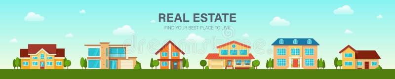 Grupo moderno da casa da casa de campo Conceito 6 dos bens imobiliários ilustração stock