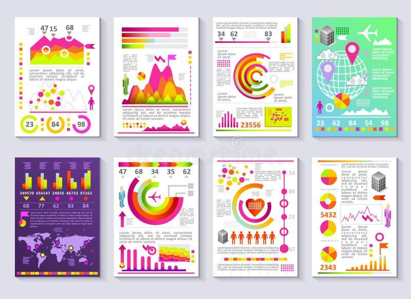 Grupo moderno de Infographic do molde gráfico do vetor do relatório comercial ilustração do vetor