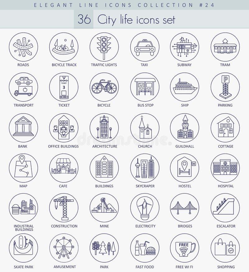Grupo moderno do ícone do esboço da cidade do vetor Linha fina elegante projeto do estilo ilustração stock