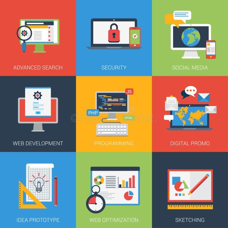Grupo moderno do ícone do estilo liso do desenvolvimento do app da Web ilustração stock