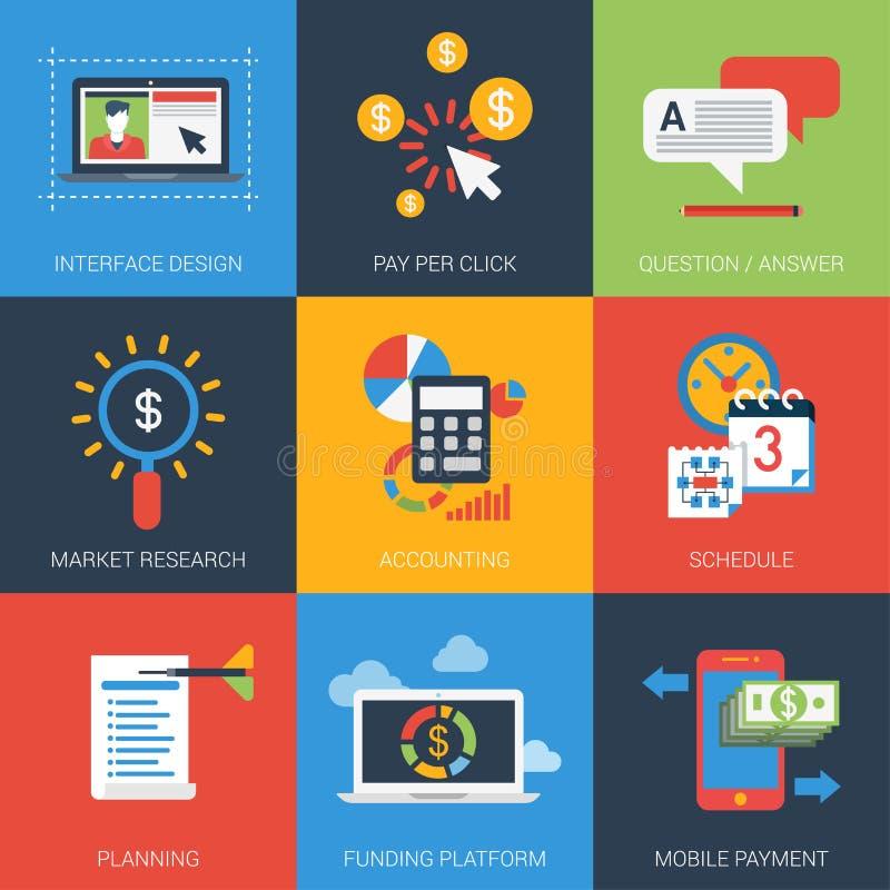 Grupo moderno do ícone do estilo liso do projeto da Web ilustração stock
